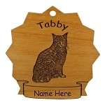 7432 Tabby Cat Sitting Ornament Personalized with Your Cat's Name